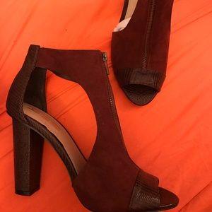LS Brown Zip Front Cut Out Heel